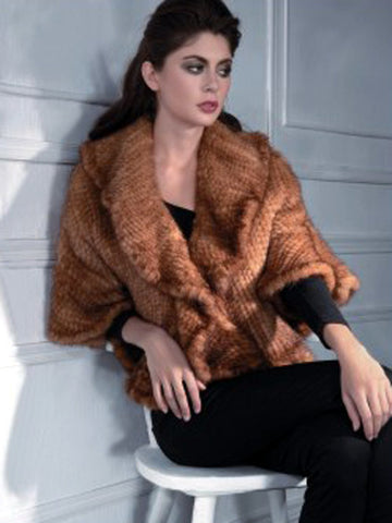 Pink Mink Knitted Mink Ruffle Wrap