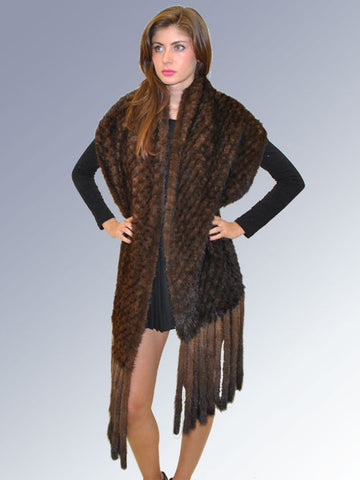 Pink Mink Knitted Mink Wrap with Long Fringes