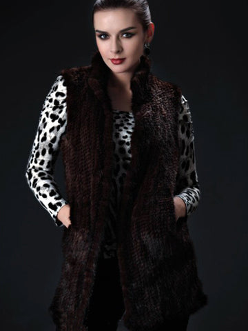 Knitted Mink Long Vest