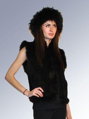 Knitted Rex Rabbit Vest with Fox Trim- Black