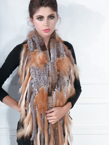 Pink Mink Knitted Rex and Red Fox Scarf with Fringe