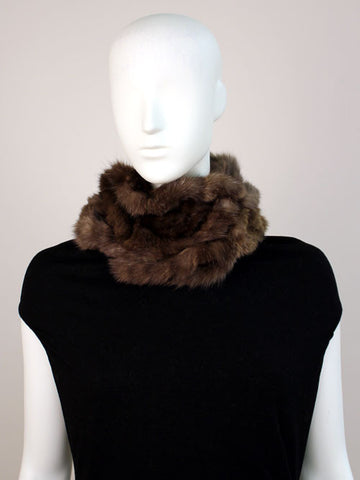 Knitted Sable Scarf with Rosette