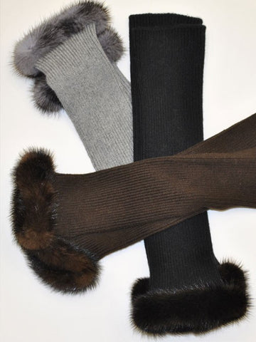 Mink Cashmere Fingerless Gloves