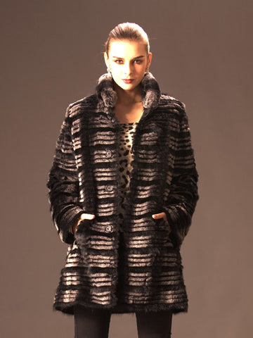 Layered Mink and Rex Reversible Coat