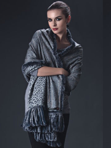 Cashmere Pashmina Print with Rex Trim