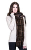 Knitted Mink Plaid Scarf with Long Fringes