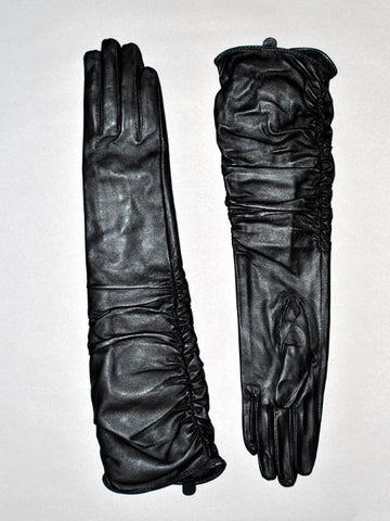 Leather Ruched Long Gloves