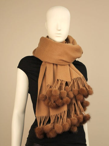 Solid Cashmere Pashmina Scarf with Mink Pom-Poms
