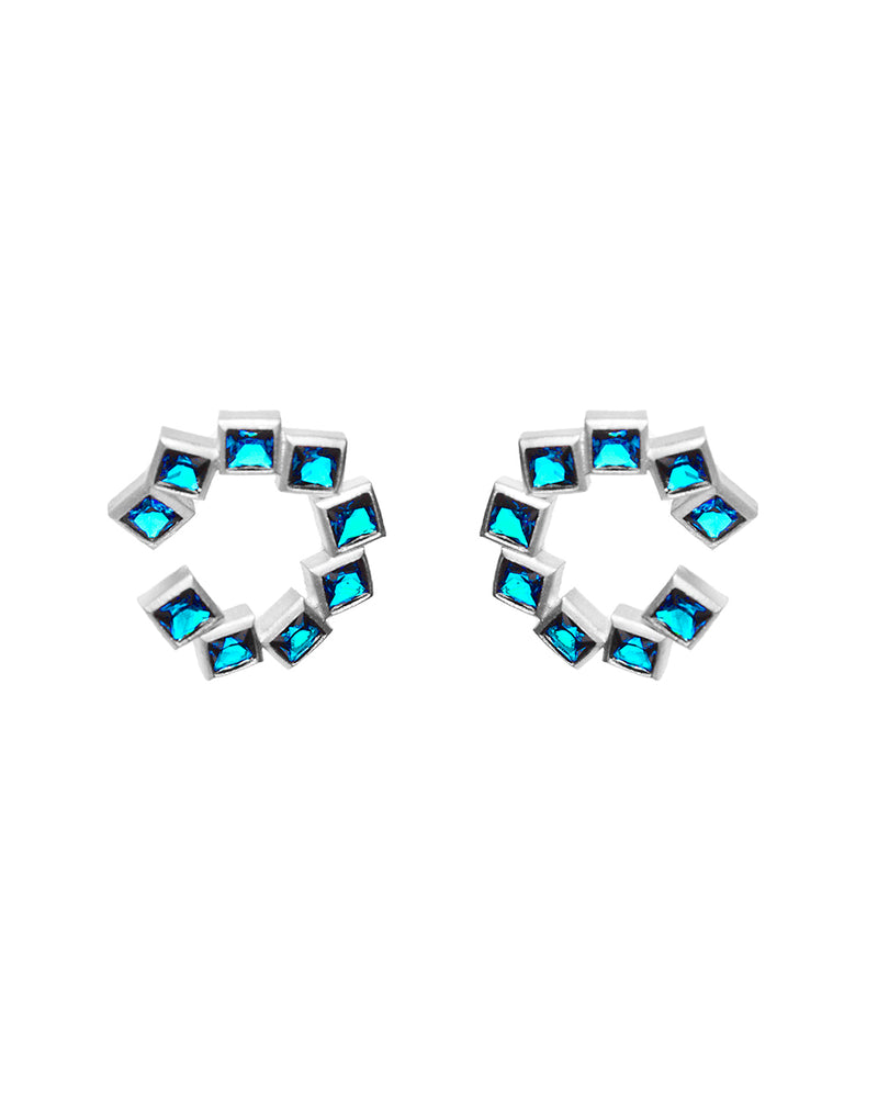 Blue Block Earring