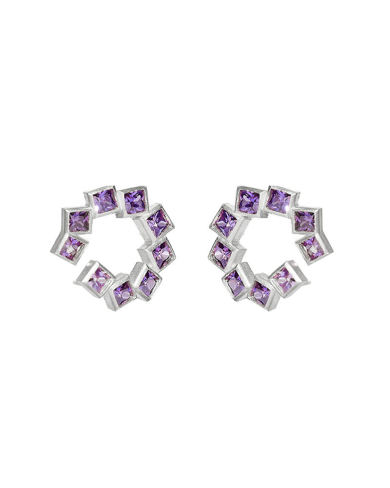 Purple Block Earring