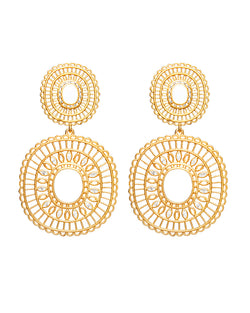 Mandala Large White earring