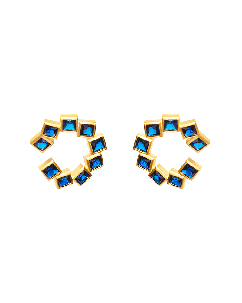 Navy Block Earring