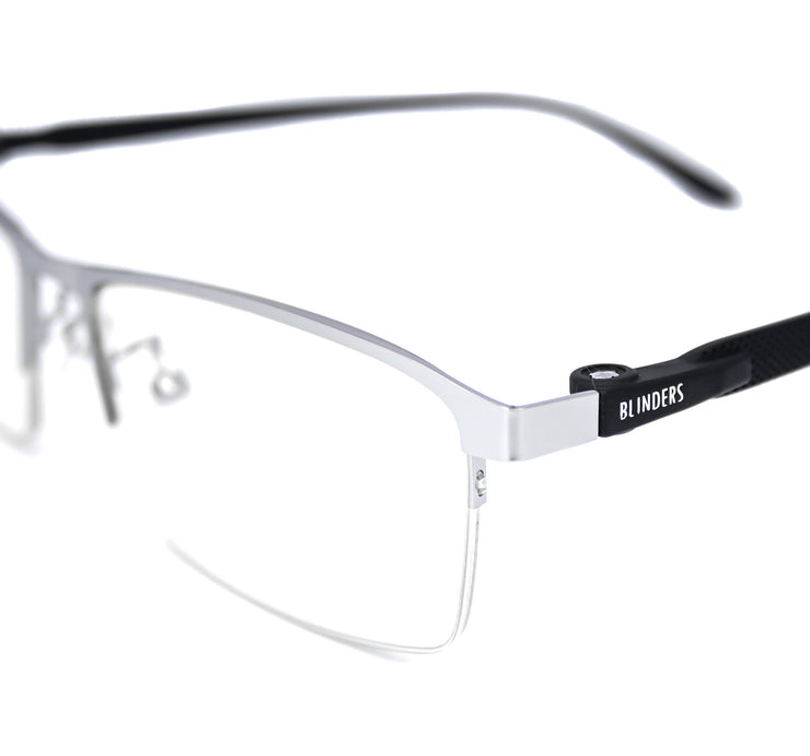 Lentes blue blocking rectangulares plateados Silver Buffett - Blinders Online Store