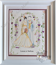 Load image into Gallery viewer, Art Deco Wedding - Ideal Gift Handmade. personalised wedding present. Bride and Groom's names. Wedding dress, flower arch, brides bouquet.