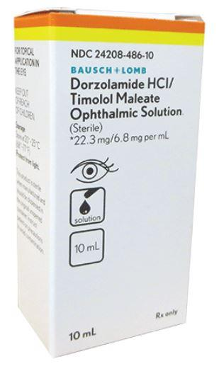 Dorzolamide HCl 2% / Timolol 0.5% 10mL by Bausch & Lomb NDC# 24208-0486-10