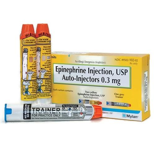 Alpha- and Beta-Adrenergic Agonist Epinephrine 0.3 mg (1:1000) Injection Auto-Injector 0.3 mL. 2/Pack. NDC# 49502-102-02