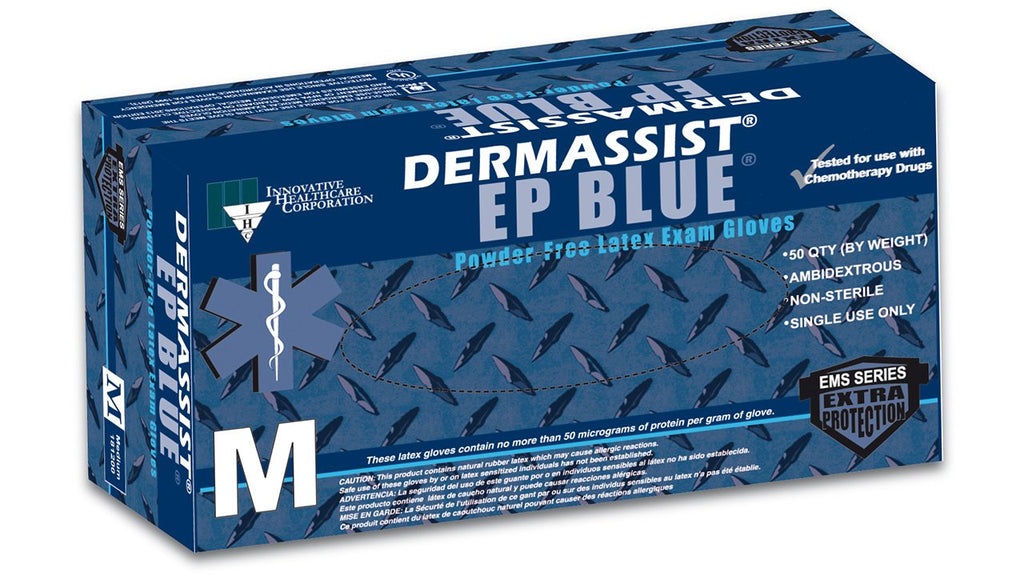 Innovative DermAssist EP BLUE Latex Exam Gloves - Extended Cuff - PF Exam Gloves Extra Large (9.5 - 10.0) 50/Box