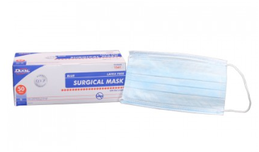 Dukal 3-Ply Level 1 Disposable Surgical Ear Loop Face Mask, Blue 50/Box