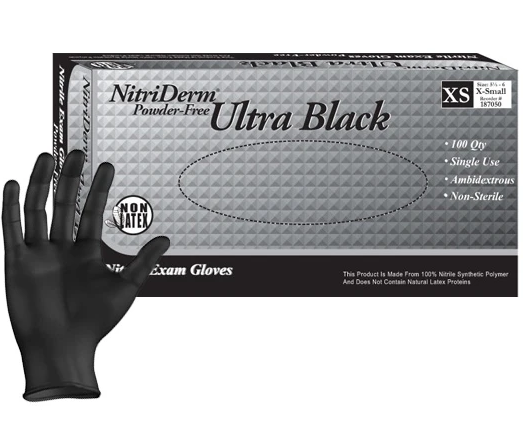 Innovative Nitriderm Ultra Black Nitrile Synthetic Exam Gloves NS PF Small (6.5 - 7) 100/Box