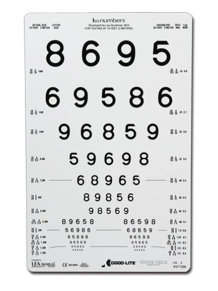 Lea Numbers 13-Line Translucent Distance Vision Chart, 10ft (3 meters)