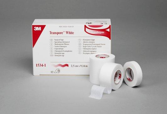 "3M Transpore White Dressing Tape 1/2"" x 10 yds. Single Roll"