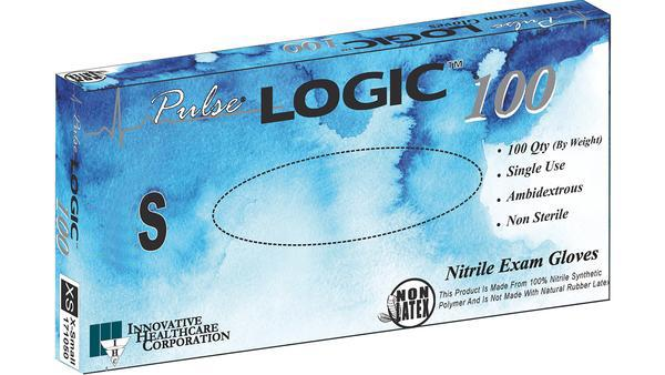 Innovative Pulse LOGIC 100 Nitrile Powder-Free Exam Gloves Small (6.5 -7.0) 100/Box