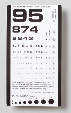 Rosenbaum Pocket Vision Screener Card without Amsler Grid