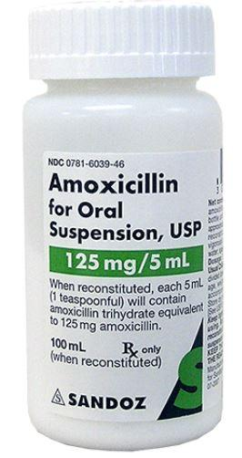 Amoxicillin Powder 125mg/5mL for Oral Suspension by Sandoz 100ml/Bottle NDC# 0781-6039-46