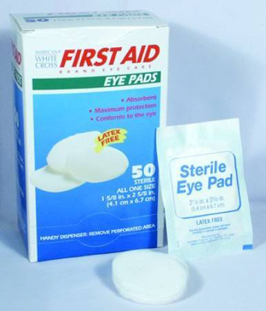 "American White Cross Sterile Small Eye Pads, 1 5/8"" x 2 5/8"". 50/Box"