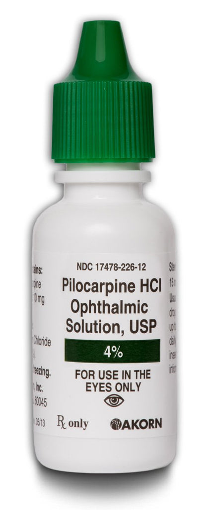 Pilocarpine HCl 4% Ophthalmic Drops Bottle 15 mL by Akorn NDC# 17478-226-12