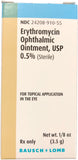 Erythromycin Ophthalmic Ointment 0.5% Tube 3.5gm NDC# 24208-0910-55
