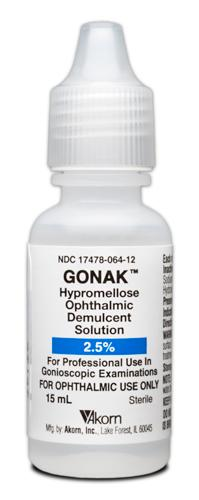 Gonak 2.5% Hypromellose Ophthalmic Solution 15ml NDC# 17478-064-12