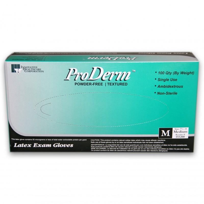 Innovative ProDerm Latex PF Exam Gloves Medium (7.5 - 8.0) 100/Box