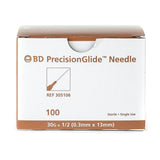 "BD Precisionglide™ Needles  30G x 1/2"". 100/Box"