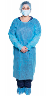 Dukal Non-Sterile, Disposable Isolation Gown, Blue 10/Bag