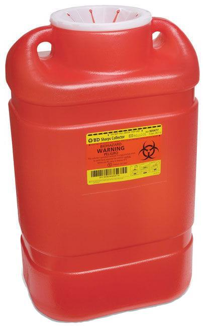 BD Sharps Container, 5 Gallon, Red, X-Large, Large Funnel