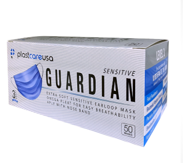 Guardian 4-Ply Level 3 Disposable Surgical Ear Loop Face Mask, Blue 50/Box