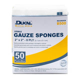 "Dukal Basic Gauze Sponges 2's, 2"" x 2"", Sterile, 8-Ply, 50/Box"