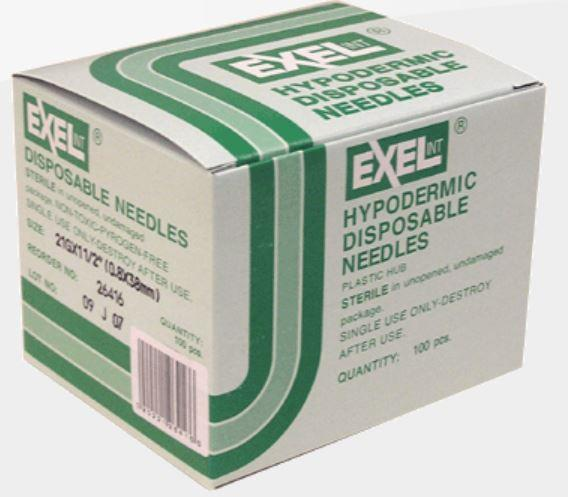 "Exel Hypodermic Needles, 21G x 1-1/2"", 100/Box"