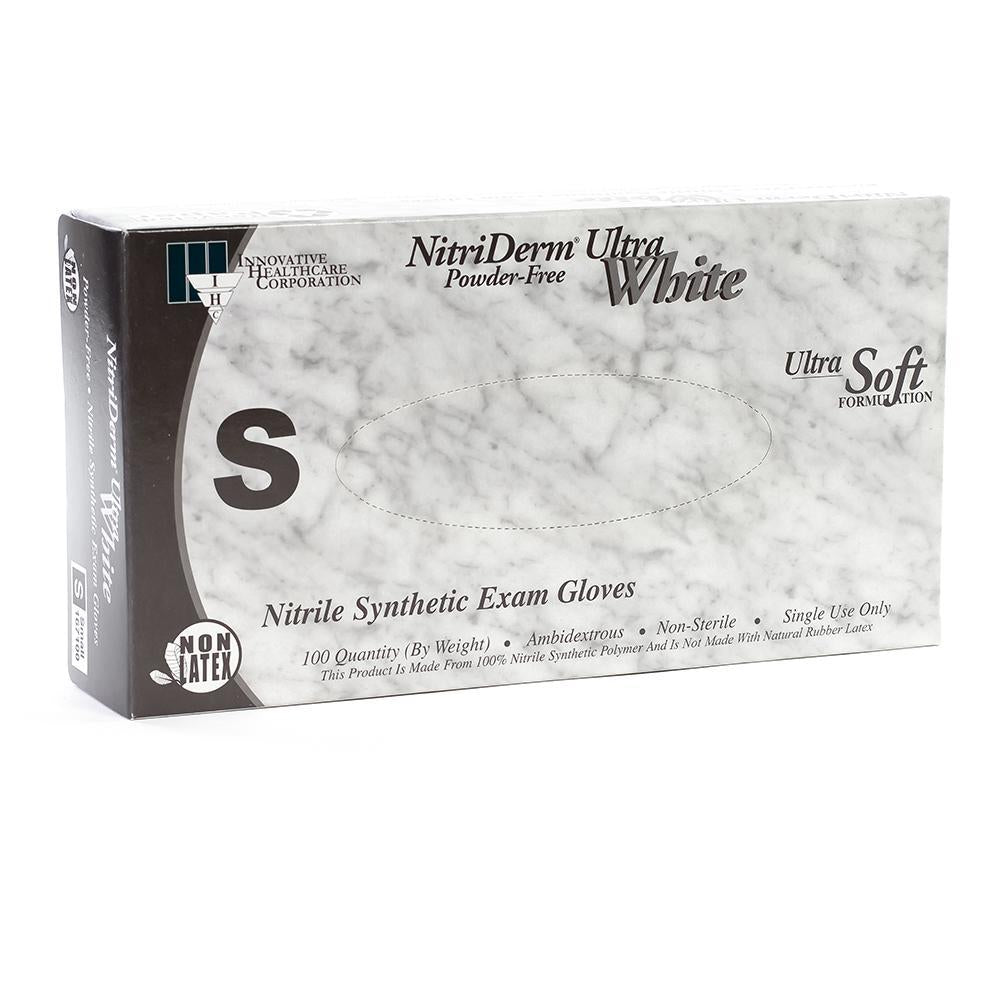 Innovative Nitriderm Ultra White Nitrile Synthetic Exam Gloves PF Small (6.5 - 7.0) 100/Box