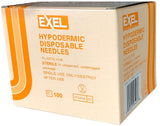 "Exel Hypodermic Needles, 25G x 5/8"", 100/Box"