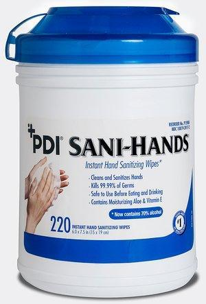 "PDI Sani-Hands Instant Hand Sanitizing Wipes, 6"" x 7.5"", 220/can"