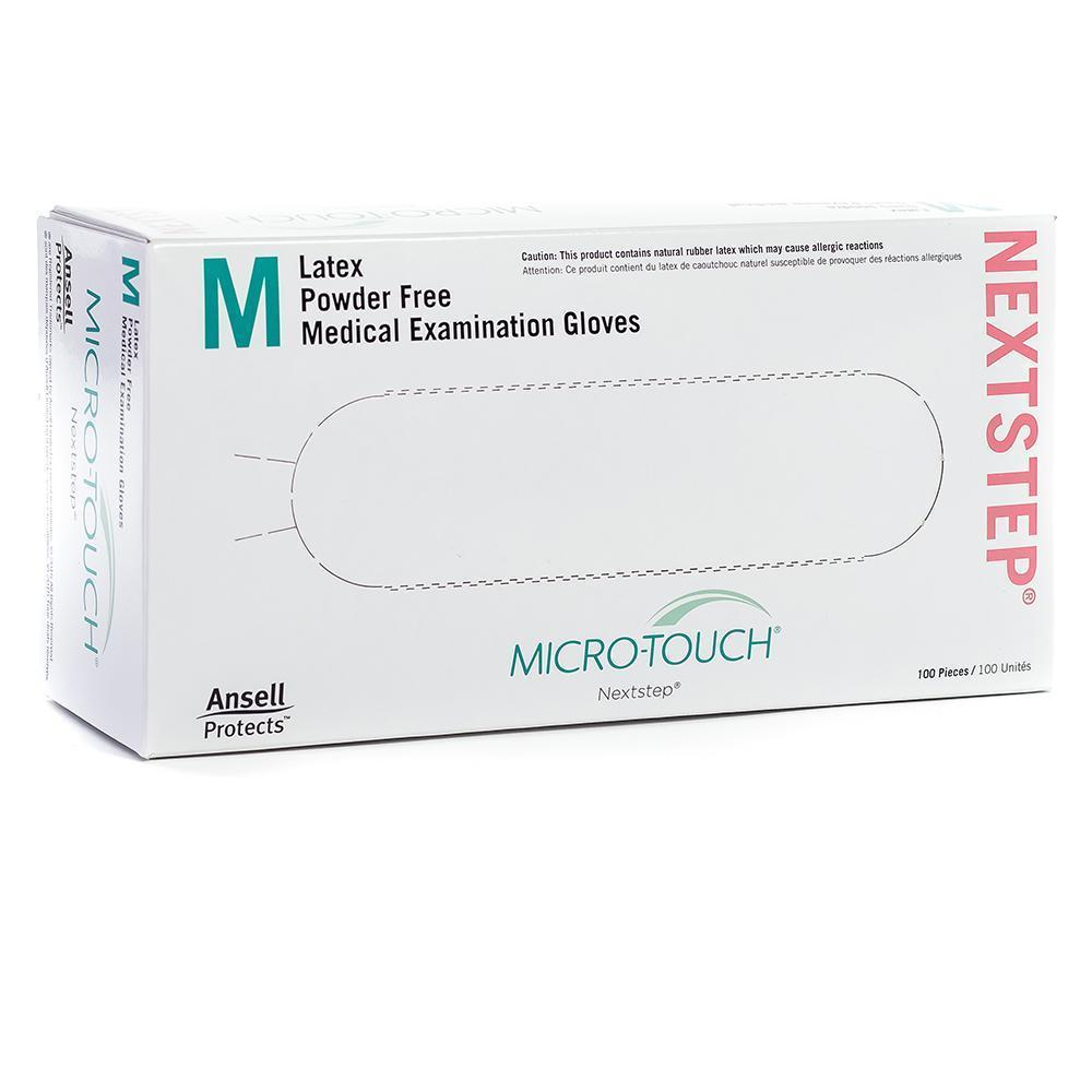 Ansell Micro-Touch Nextstep Powder-Free Latex Exam Gloves Medium. 100/Box