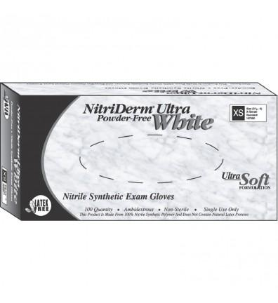 Innovative Nitriderm Ultra White Nitrile Synthetic Exam Gloves PF Large (8.5 - 9) 100/Box