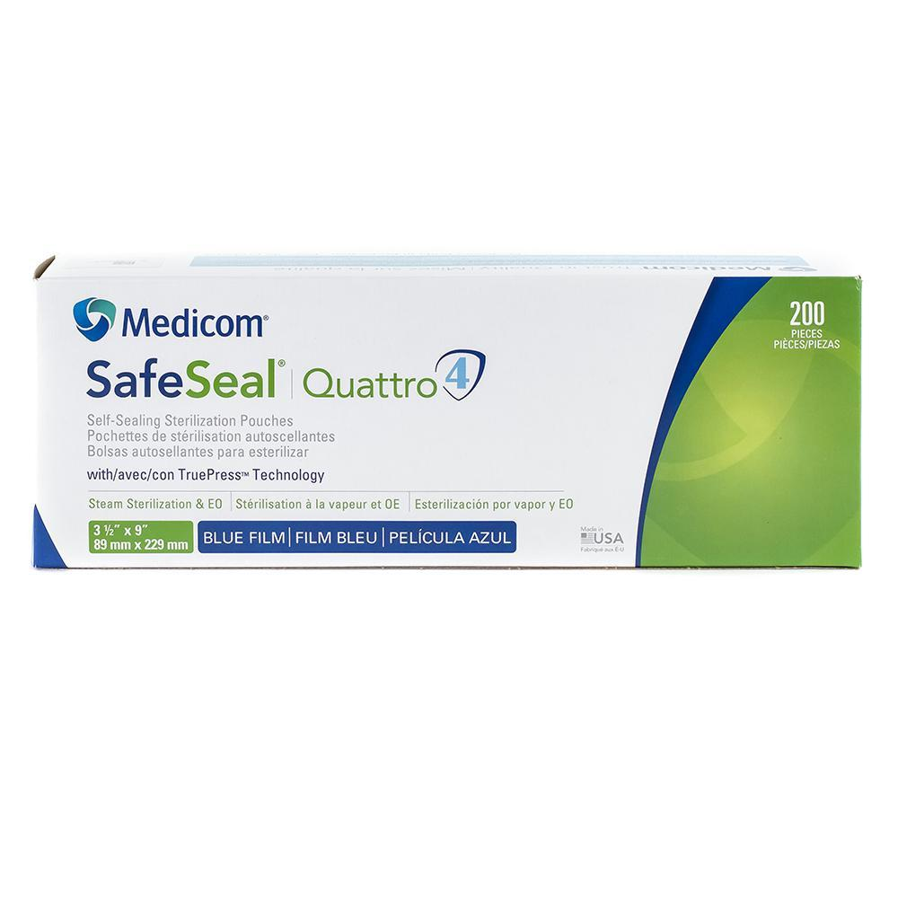 "3.5"" x 9"" Safeseal Quattro Sterilization Pouches, 200/Box"