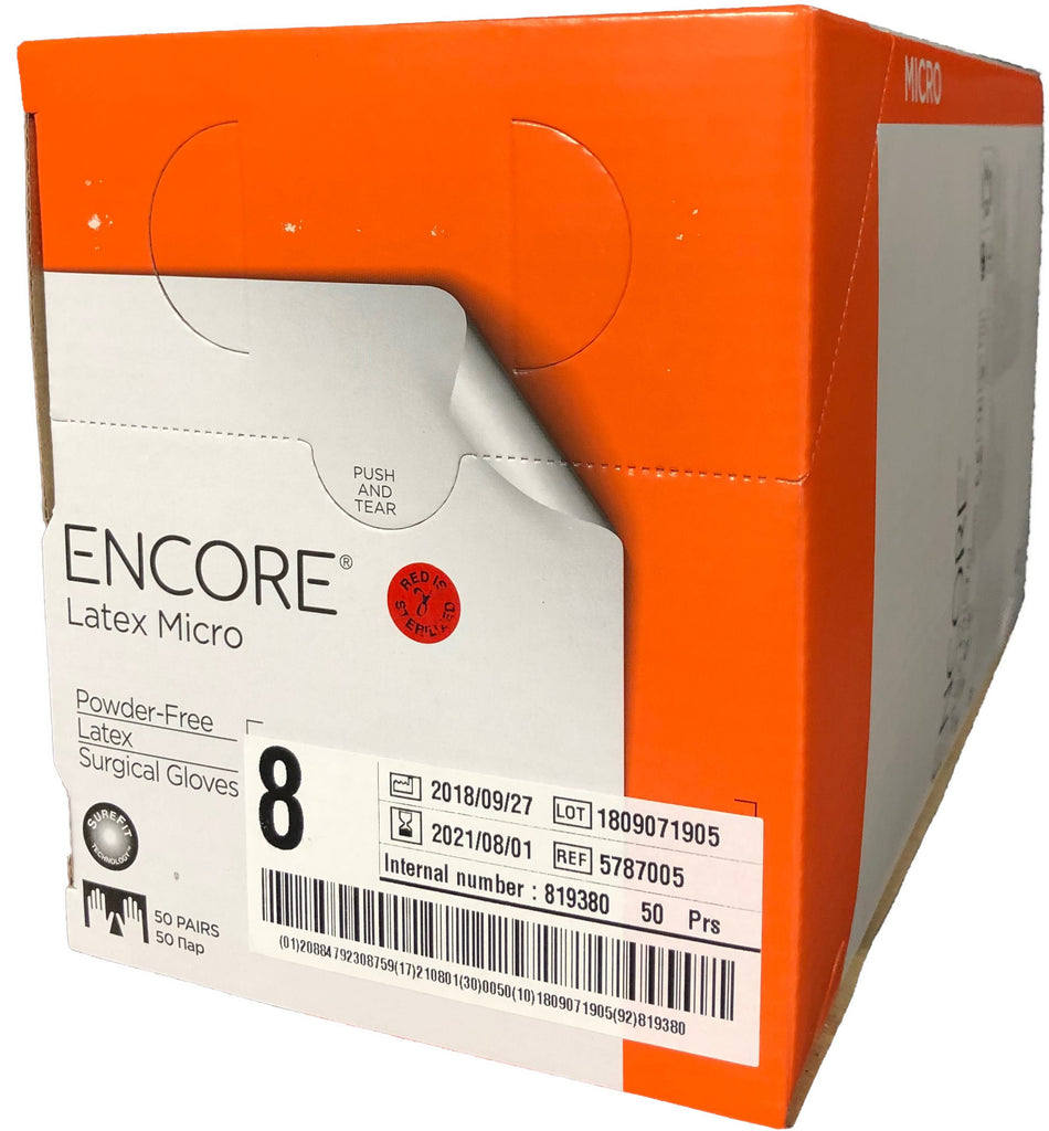 Ansell Encore Latex Micro Surgical Gloves, Size 7, PF, 50 pair/box