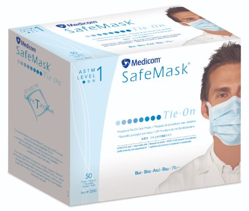 AMD Medicom Safe+Mask Surgical Tie-On Mask 50/Box.
