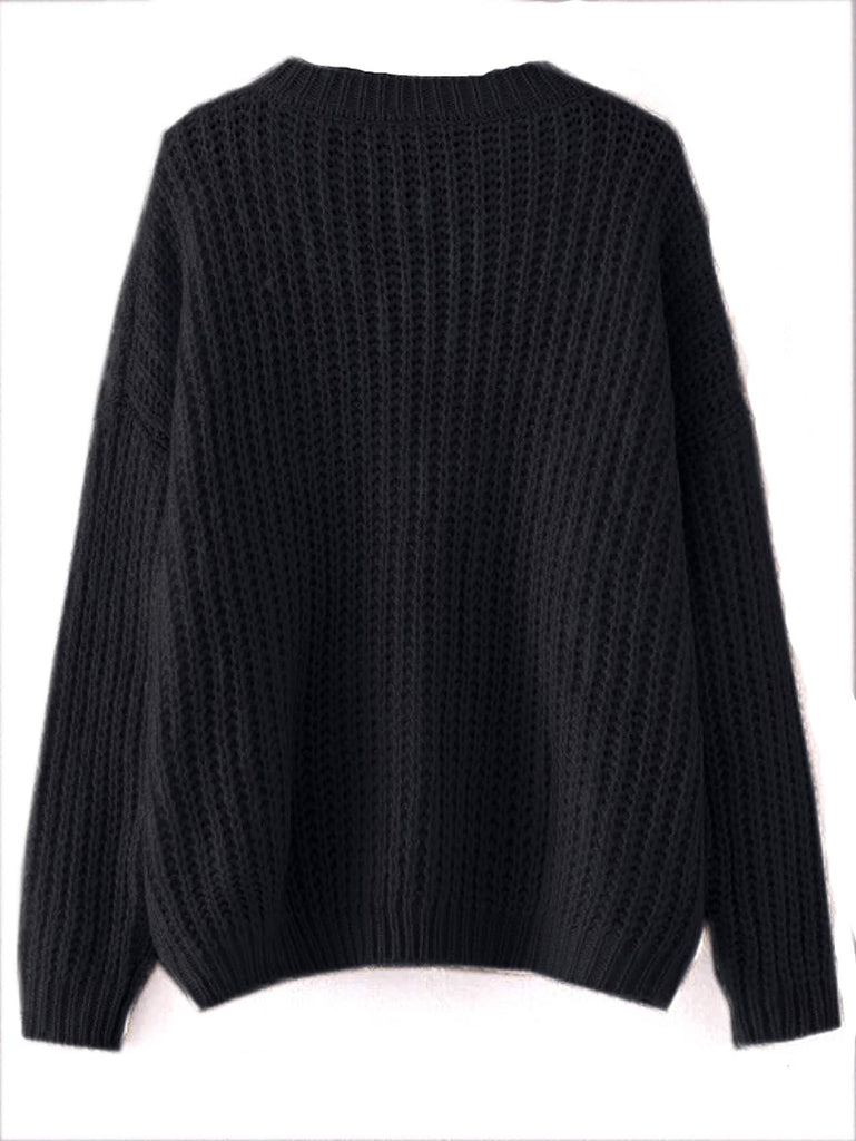 Shein | Black Drop Shoulder Textured Sweater - Yashry