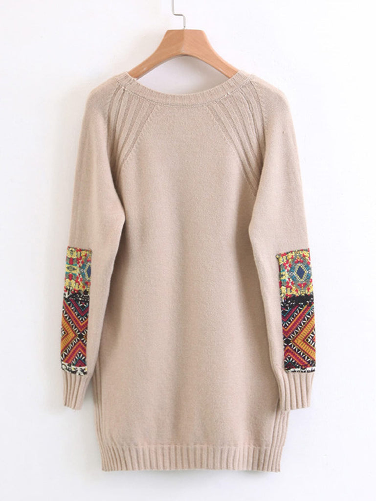 Shein | Contrast Patch High Low Sweater - Yashry