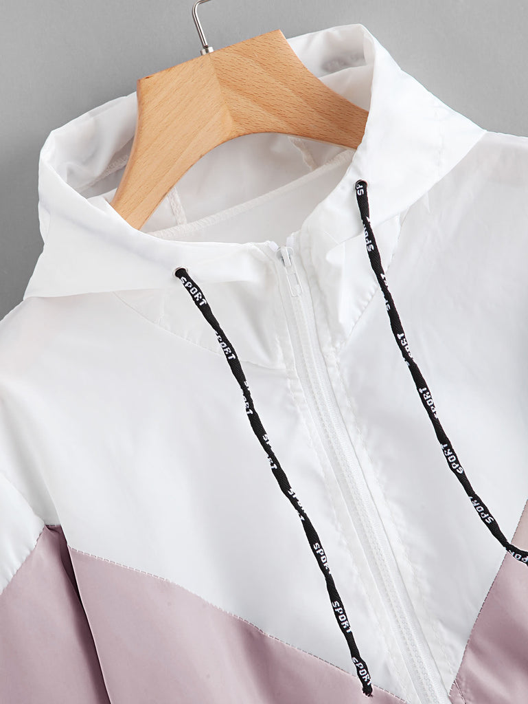 Shein | Color Block Drawstring Hooded Zip Up Jacket - Yashry